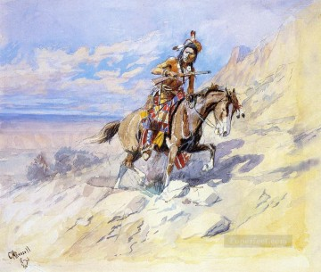 American Indians Painting - indian on horseback Charles Marion Russell American Indians