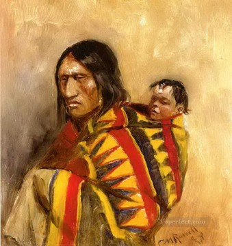 stone in moccasin woman 1890 Charles Marion Russell American Indians Oil Paintings