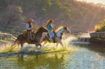 Indiana Oil Painting - Companions of cowboy and cowgirl Indiana