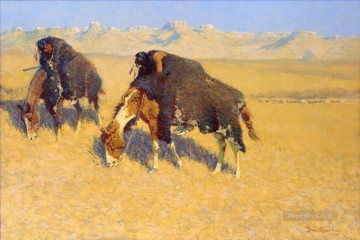 Indians Simulating Buffalo Oil Paintings