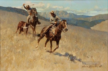Indiana Oil Painting - J Reynolds Roping Stray Indiana