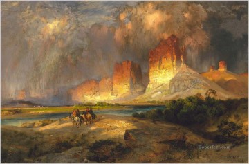 American Indians Painting - Thomas Moran Cliffs of the Upper Colorado River Wyoming Territury west America