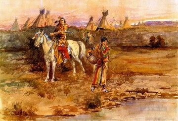 a piegan flirtation 1896 Charles Marion Russell American Indians Oil Paintings