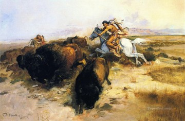 buffalo hunt 1897 Charles Marion Russell American Indians Oil Paintings
