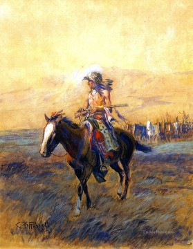 cavalry mounts for the brave 1907 Charles Marion Russell American Indians Oil Paintings