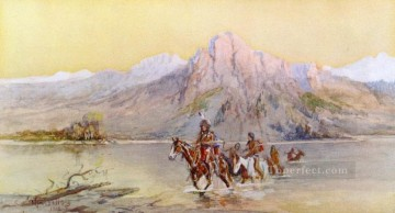American Indians Painting - crossing the missouri 1 1902 Charles Marion Russell American Indians