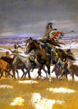 crow scouts in winter 1907 Charles Marion Russell American Indians Oil Paintings