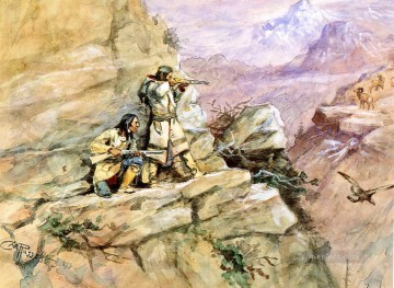 hunting big horn sheep 1898 Charles Marion Russell American Indians Oil Paintings