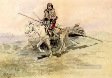 American Indians Painting - indian on horseback with a child 1901 Charles Marion Russell American Indians