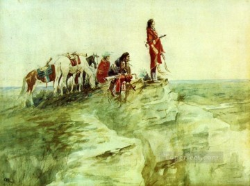 medicine rock 1890 Charles Marion Russell American Indians Oil Paintings