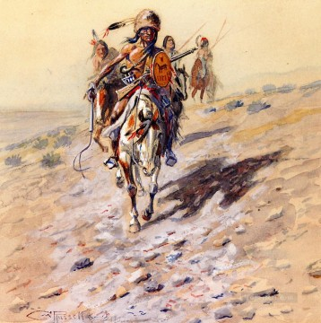 American Indians Painting - on the trail 1902 Charles Marion Russell American Indians