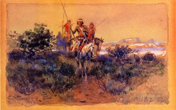 return of the navajos 1919 Charles Marion Russell American Indians Oil Paintings