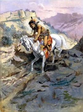 the alert 1895 Charles Marion Russell American Indians Oil Paintings