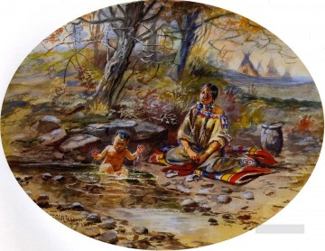 American Indians Painting - the bath 1899 Charles Marion Russell American Indians