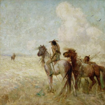 American Indians Painting - the bison hunters nathaniel hughes john baird west America