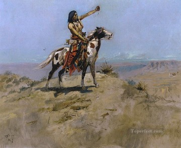 the signal Charles Marion Russell American Indians Oil Paintings