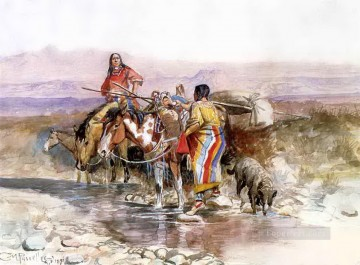 thirsty 1898 Charles Marion Russell American Indians Oil Paintings