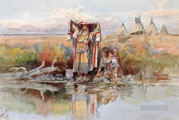 water girl 1895 Charles Marion Russell American Indians Oil Paintings