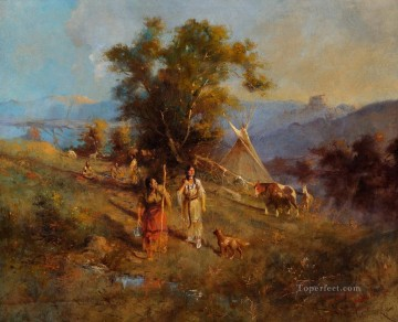 American Indians Painting - Crow Village west America