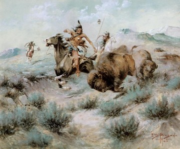 AX Painting - Edgar Samuel Paxson xx The Buffalo Hunt west America