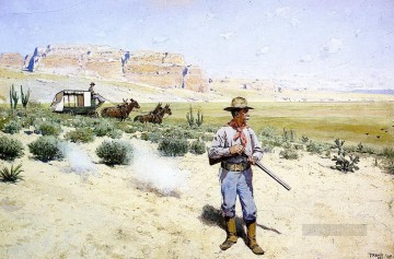 Farney Henry F Defending the Stagecoach west America Oil Paintings