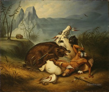 Indian Bear Fight Oil Paintings