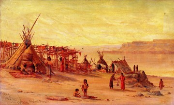 American Indians Painting - James Everett Stuart xx Indian Camp near Celilo