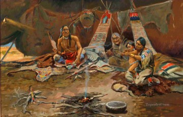 American Indians Painting - Russell Three Generations west America