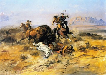 buffalo hunt 1898 Charles Marion Russell American Indians Oil Paintings
