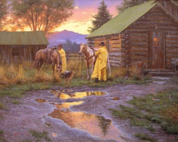 American Indians Painting - cowboy cottages west America