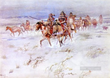 American Indians Painting - crees coming in to trade 1896 Charles Marion Russell American Indians