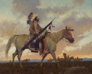 American Indians Painting - demott west America