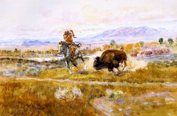 fighting meat 1925 Charles Marion Russell American Indians Oil Paintings