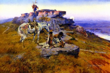 her heart is on the ground 1917 Charles Marion Russell American Indians Oil Paintings