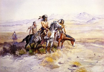in enemy country 1899 Charles Marion Russell American Indians Oil Paintings