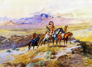 indians scouting a wagon train 1902 Charles Marion Russell American Indians Oil Paintings