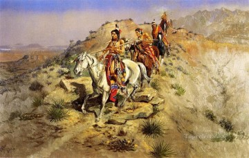 American Indians Painting - on the warpath 1895 Charles Marion Russell American Indians