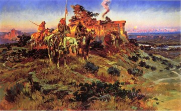 smoke talk 1924 Charles Marion Russell American Indians Oil Paintings