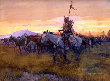 stolen horses no 3 detail 1911 Charles Marion Russell American Indians Oil Paintings
