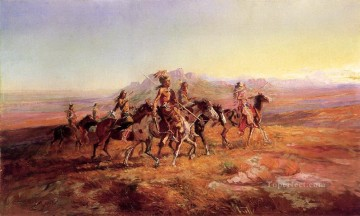 sun river war party 1903 Charles Marion Russell American Indians Oil Paintings