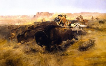 the buffalo hunt 1895 Charles Marion Russell American Indians Oil Paintings