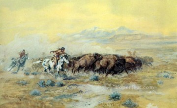 the buffalo hunt 1903 Charles Marion Russell American Indians Oil Paintings