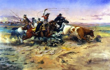 the heard quitter 1897 Charles Marion Russell American Indians Oil Paintings
