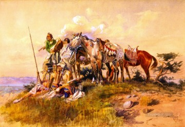 watching for the smoke signal 1907 Charles Marion Russell American Indians Oil Paintings