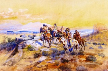 American Indians Painting - watching the iron horse 1902 Charles Marion Russell American Indians
