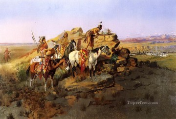 watching the settlers 1895 Charles Marion Russell American Indians Oil Paintings