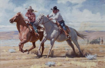 American Indians Painting - Fellows Match Race west America