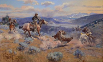 horses horse Painting - Russell Loops and Swift Horses are Surer than Lead 1916 west America