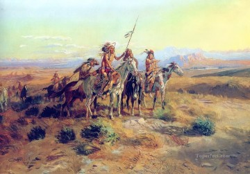 American Indians Painting - Russell The Scouts west America