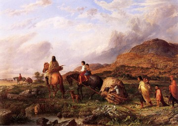 Seth Eastman Indian Mode of Transportation Oil Paintings